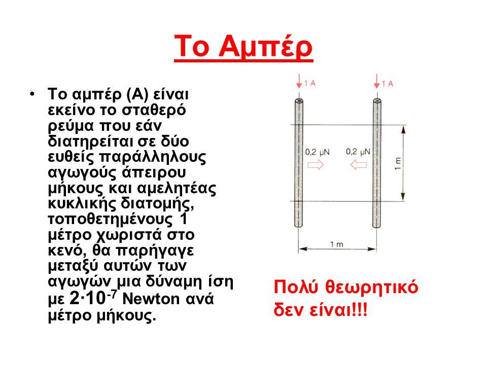 Το Αμπέρ Το αμπέρ (A) είναι εκείνο το σταθερό ρεύμα που εάν διατηρείται σε δύο ευθείς παράλληλους αγωγούς άπειρου μήκους και αμελητέας κυκλικής διατομ