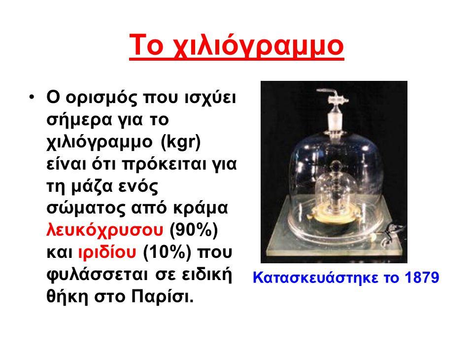 Το χιλιόγραμμο Ο ορισμός που ισχύει σήμερα για το χιλιόγραμμο (kgr) είναι ότι πρόκειται για τη μάζα ενός σώματος από κράμα λευκόχρυσου (90%) και ιριδί