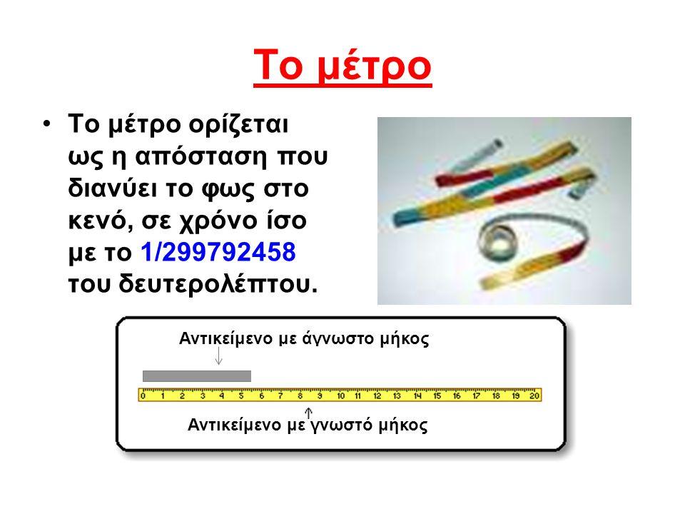 Το μέτρο Το μέτρο ορίζεται ως η απόσταση που διανύει το φως στο κενό, σε χρόνο ίσο με το 1/299792458 του δευτερολέπτου. Αντικείμενο με άγνωστο μήκος Α