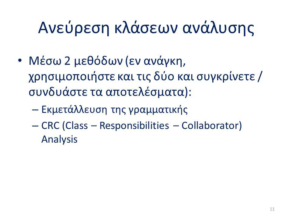 Ανεύρεση κλάσεων ανάλυσης Μέσω 2 μεθόδων (εν ανάγκη, χρησιμοποιήστε και τις δύο και συγκρίνετε / συνδυάστε τα αποτελέσματα): – Εκμετάλλευση της γραμματικής – CRC (Class – Responsibilities – Collaborator) Analysis 11
