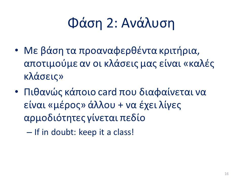 Φάση 2: Ανάλυση Με βάση τα προαναφερθέντα κριτήρια, αποτιμούμε αν οι κλάσεις μας είναι «καλές κλάσεις» Πιθανώς κάποιο card που διαφαίνεται να είναι «μέρος» άλλου + να έχει λίγες αρμοδιότητες γίνεται πεδίο – If in doubt: keep it a class.