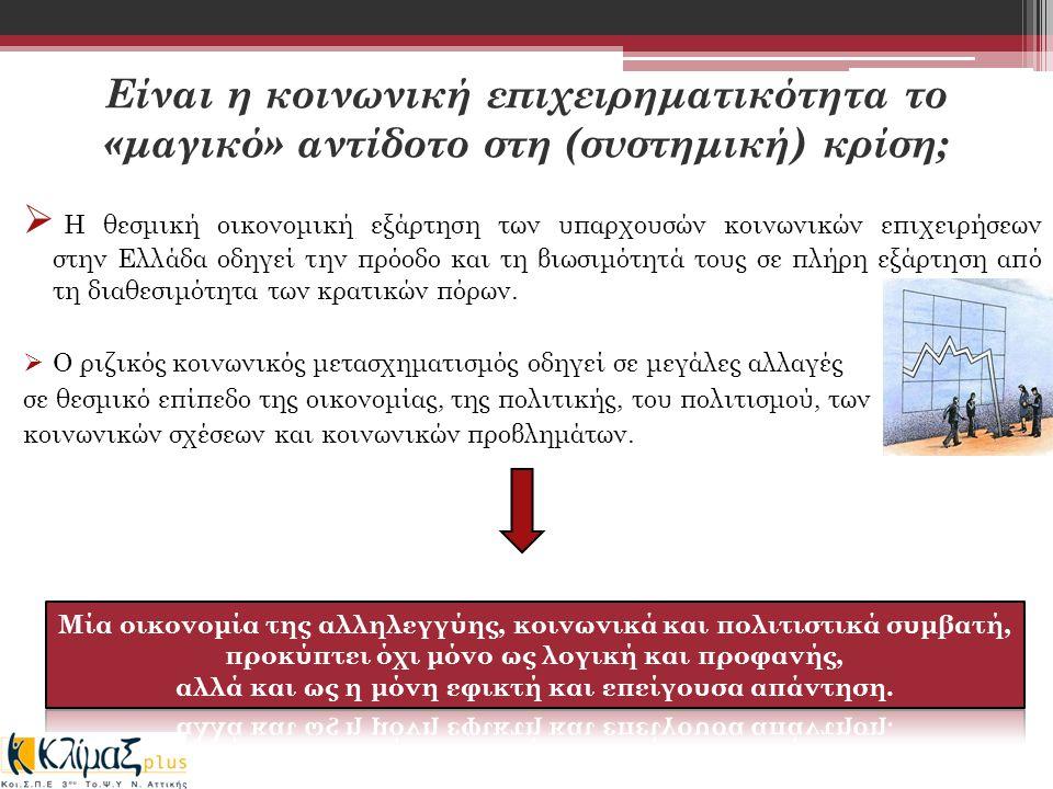 Είναι η κοινωνική επιχειρηματικότητα το «μαγικό» αντίδοτο στη (συστημική) κρίση;  Η θεσμική οικονομική εξάρτηση των υπαρχουσών κοινωνικών επιχειρήσεων στην Ελλάδα οδηγεί την πρόοδο και τη βιωσιμότητά τους σε πλήρη εξάρτηση από τη διαθεσιμότητα των κρατικών πόρων.