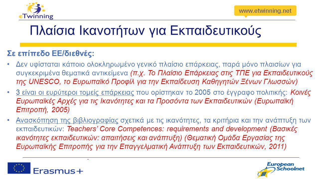 3 Ευρείς Τομείς Ικανοτήτων για Εκπαιδευτικούς 1)Συνεργασία με τρίτους Αποτελεσματική συνεργασία με μαθητές Συνεργασία με συναδέλφους Κοινές Ευρωπαϊκές Αρχές για τις Ικανότητες και τα Προσόντα των Εκπαιδευτικών (EΕ, 2005)