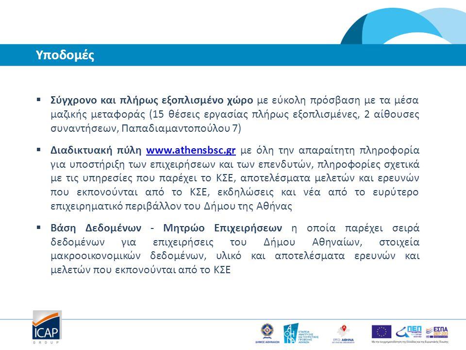 Υπηρεσίες προς επιχειρήσεις 1.Υποστήριξη σε θέματα επιχειρησιακού σχεδιασμού 2.Παροχή και αξιοποίηση δεδομένων αγοράς 3.Υποστήριξη στην εξεύρεση Χρηματοδότησης 4.Υποστήριξη σε θέματα οργάνωσης και λειτουργία της επιχείρησης και θέματα διαχείρισης προσωπικού 5.Υποστήριξη στην ανάπτυξη εξαγωγών 6.Υποστήριξη στην ανάπτυξη συνεργασιών 7.Κατάρτιση και μεταφορά τεχνογνωσίας 8.Υποστήριξη στην διαδικασία ίδρυσης μιας νέας επιχείρησης Αναλυτικά οι παρεχόμενες υπηρεσίες παρουσιάζονται στην ιστοσελίδα www.athensbsc.gr www.athensbsc.gr