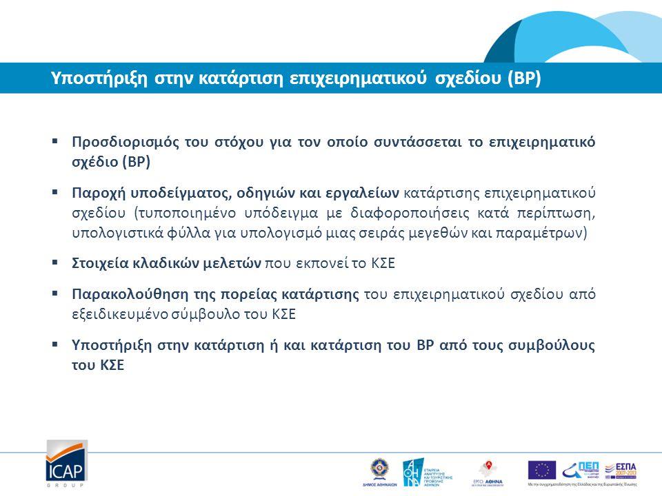 Υποστήριξη στην κατάρτιση επιχειρηματικού σχεδίου (BP)  Προσδιορισμός του στόχου για τον οποίο συντάσσεται το επιχειρηματικό σχέδιο (BP)  Παροχή υπο