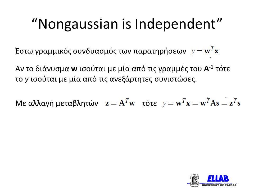 Nongaussian is Independent Έστω γραμμικός συνδυασμός των παρατηρήσεων Αν το διάνυσμα w ισούται με μία από τις γραμμές του Α -1 τότε το y ισούται με μία από τις ανεξάρτητες συνιστώσες.