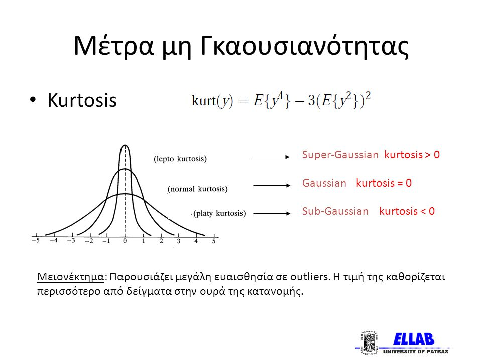 Μέτρα μη Γκαουσιανότητας Kurtosis Super-Gaussian kurtosis > 0 Gaussian kurtosis = 0 Sub-Gaussian kurtosis < 0 Μειονέκτημα: Παρουσιάζει μεγάλη ευαισθησία σε outliers.
