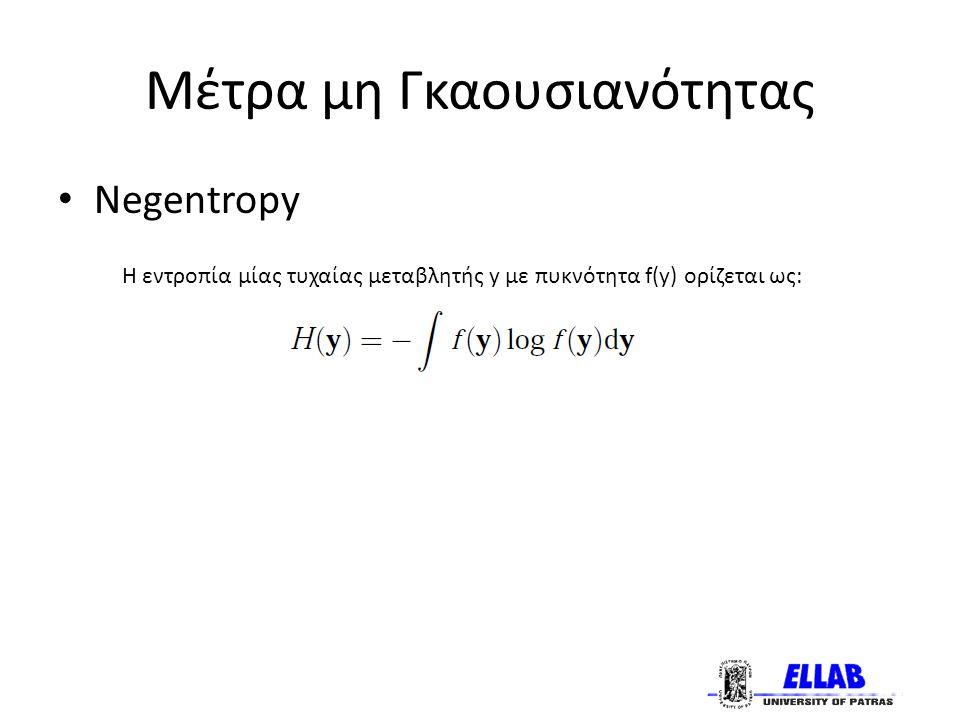 Μέτρα μη Γκαουσιανότητας Negentropy Η εντροπία μίας τυχαίας μεταβλητής y με πυκνότητα f(y) ορίζεται ως: