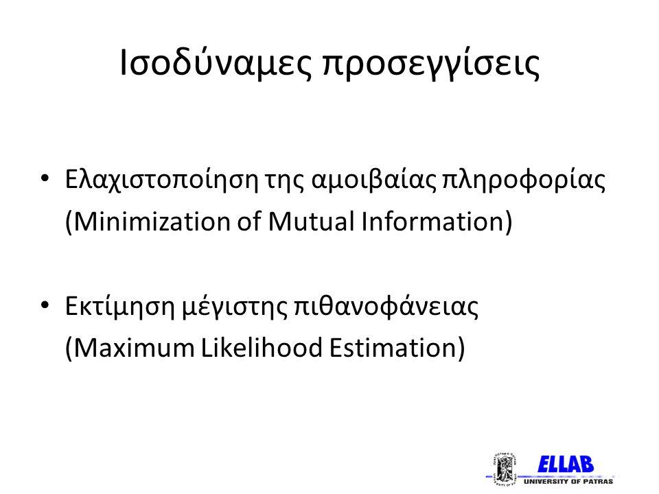 Ισοδύναμες προσεγγίσεις Ελαχιστοποίηση της αμοιβαίας πληροφορίας (Minimization of Mutual Information) Εκτίμηση μέγιστης πιθανοφάνειας (Maximum Likelihood Estimation)