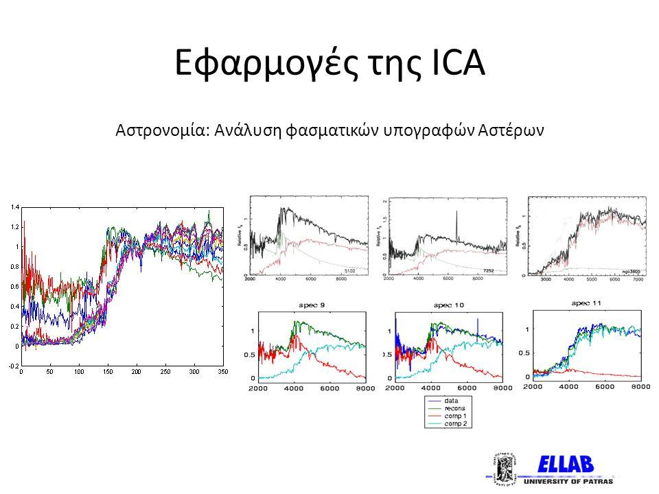 Εφαρμογές της ICA Αστρονομία: Ανάλυση φασματικών υπογραφών Αστέρων