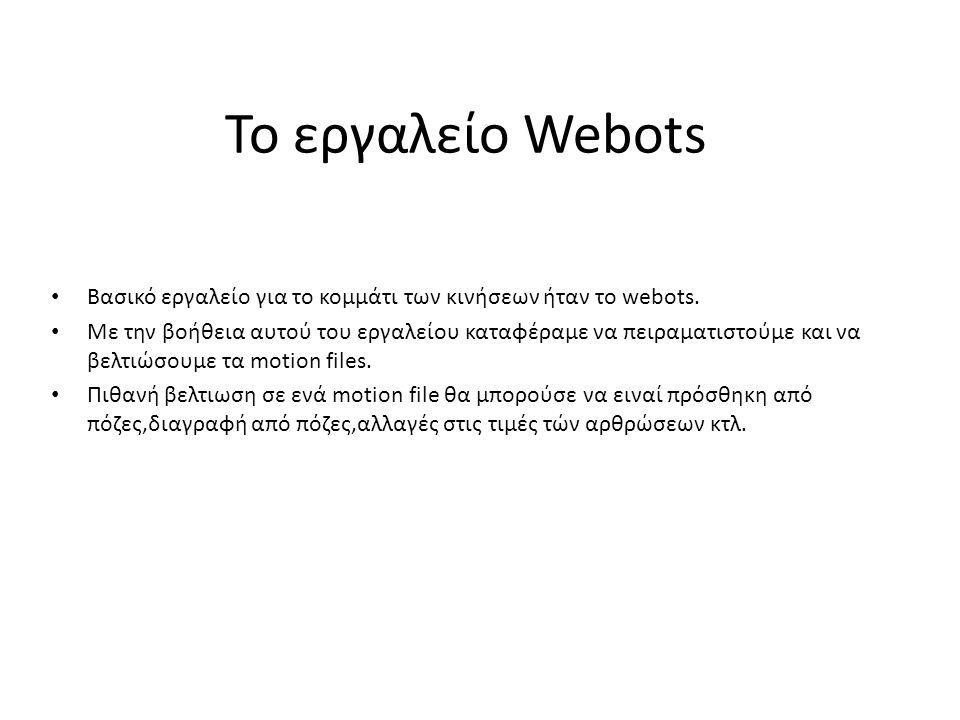 Το εργαλείο Webots Βασικό εργαλείο για το κομμάτι των κινήσεων ήταν το webots. Με την βοήθεια αυτού του εργαλείου καταφέραμε να πειραματιστούμε και να