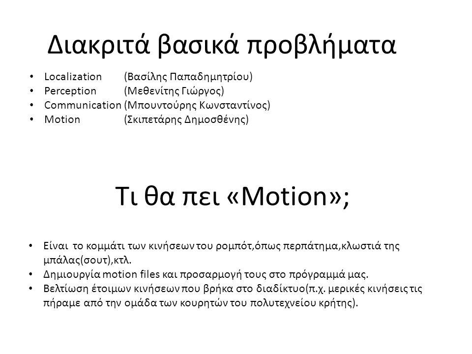 Διακριτά βασικά προβλήματα Localization(Βασίλης Παπαδημητρίου) Perception(Μεθενίτης Γιώργος) Communication(Μπουντούρης Κωνσταντίνος) Motion(Σκιπετάρης Δημοσθένης) Τι θα πει «Motion»; Είναι το κομμάτι των κινήσεων του ρομπότ,όπως περπάτημα,κλωστιά της μπάλας(σουτ),κτλ.
