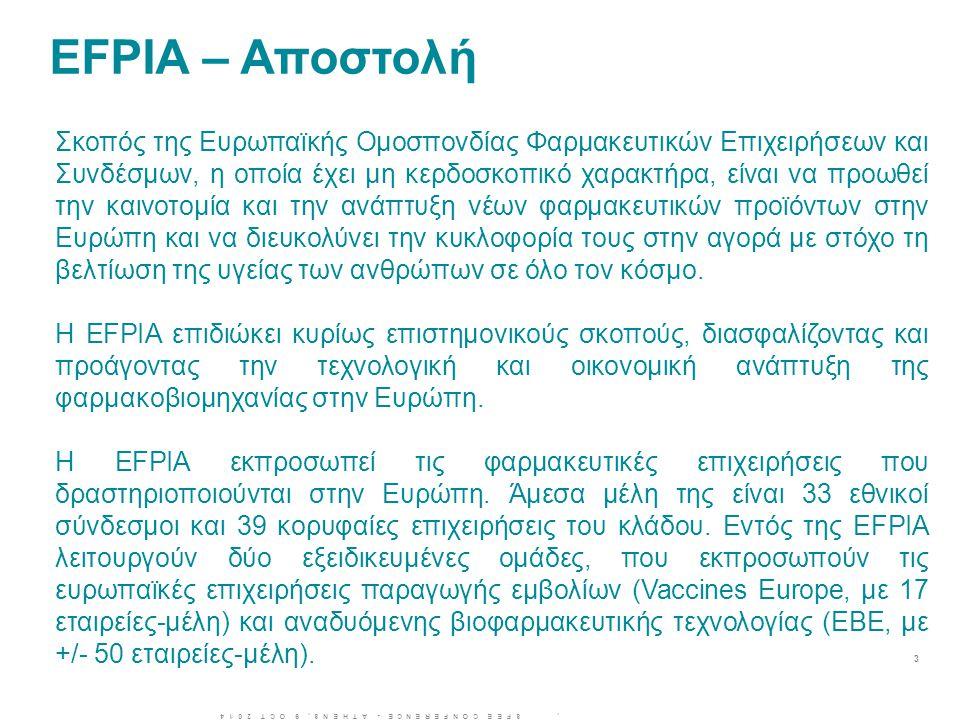 EFPIA – Αποστολή 3 Σκοπός της Ευρωπαϊκής Ομοσπονδίας Φαρμακευτικών Επιχειρήσεων και Συνδέσμων, η οποία έχει μη κερδοσκοπικό χαρακτήρα, είναι να προωθε