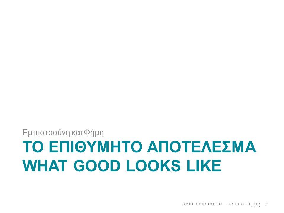 ΤΟ ΕΠΙΘΥΜΗΤΟ ΑΠΟΤΕΛΕΣΜΑ WHAT GOOD LOOKS LIKE Εμπιστοσύνη και Φήμη SFEE CONFERENCE - ATHENS, 9 OCT 2014 7