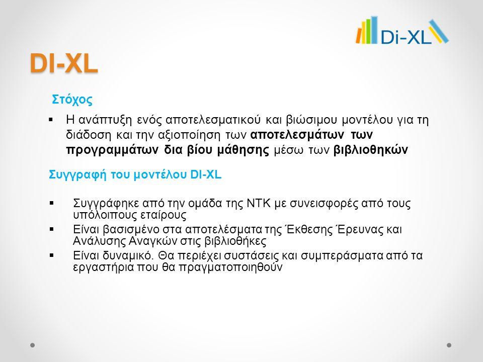 DI-XL Στόχος Συγγραφή του μοντέλου DI-XL  Συγγράφηκε από την ομάδα της NTK με συνεισφορές από τους υπόλοιπους εταίρους  Είναι βασισμένο στα αποτελέσματα της Έκθεσης Έρευνας και Ανάλυσης Αναγκών στις βιβλιοθήκες  Είναι δυναμικό.