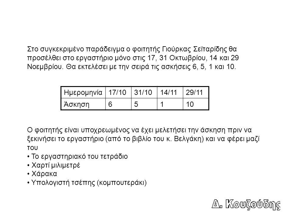 Στο συγκεκριμένο παράδειγμα ο φοιτητής Γιούρκας Σεϊταρίδης θα προσέλθει στο εργαστήριο μόνο στις 17, 31 Οκτωβρίου, 14 και 29 Νοεμβρίου.