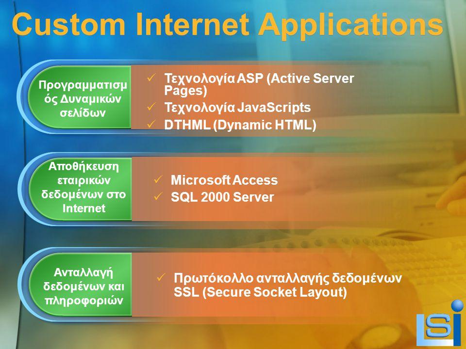 Custom Internet Applications Προγραμματισμ ός Δυναμικών σελίδων Τεχνολογία ASP (Active Server Pages) Τεχνολογία JavaScripts DTHML (Dynamic HTML) Αποθήκευση εταιρικών δεδομένων στο Internet Ανταλλαγή δεδομένων και πληροφοριών Microsoft Access SQL 2000 Server Πρωτόκολλο ανταλλαγής δεδομένων SSL (Secure Socket Layout)