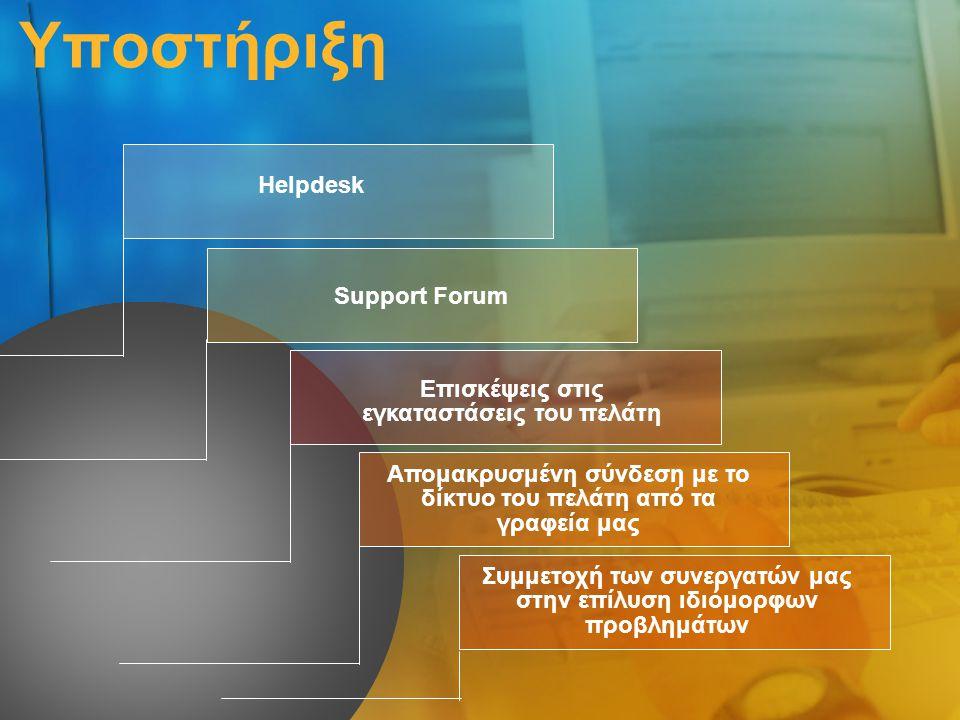 Υποστήριξη Helpdesk Support Forum Επισκέψεις στις εγκαταστάσεις του πελάτη Απομακρυσμένη σύνδεση με το δίκτυο του πελάτη από τα γραφεία μας Συμμετοχή των συνεργατών μας στην επίλυση ιδιόμορφων προβλημάτων