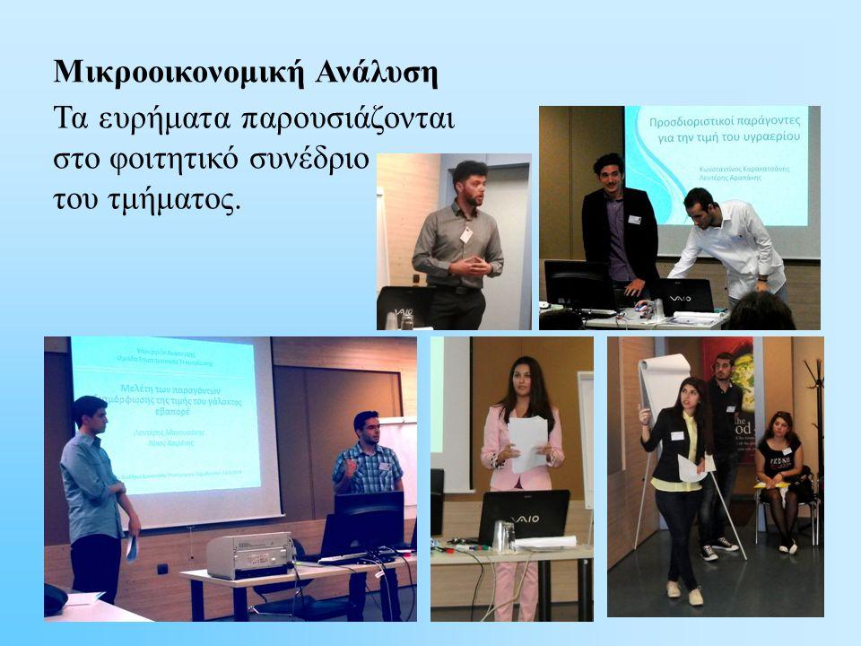 Μικροοικονομική Ανάλυση Τα ευρήματα παρουσιάζονται στο φοιτητικό συνέδριο του τμήματος.