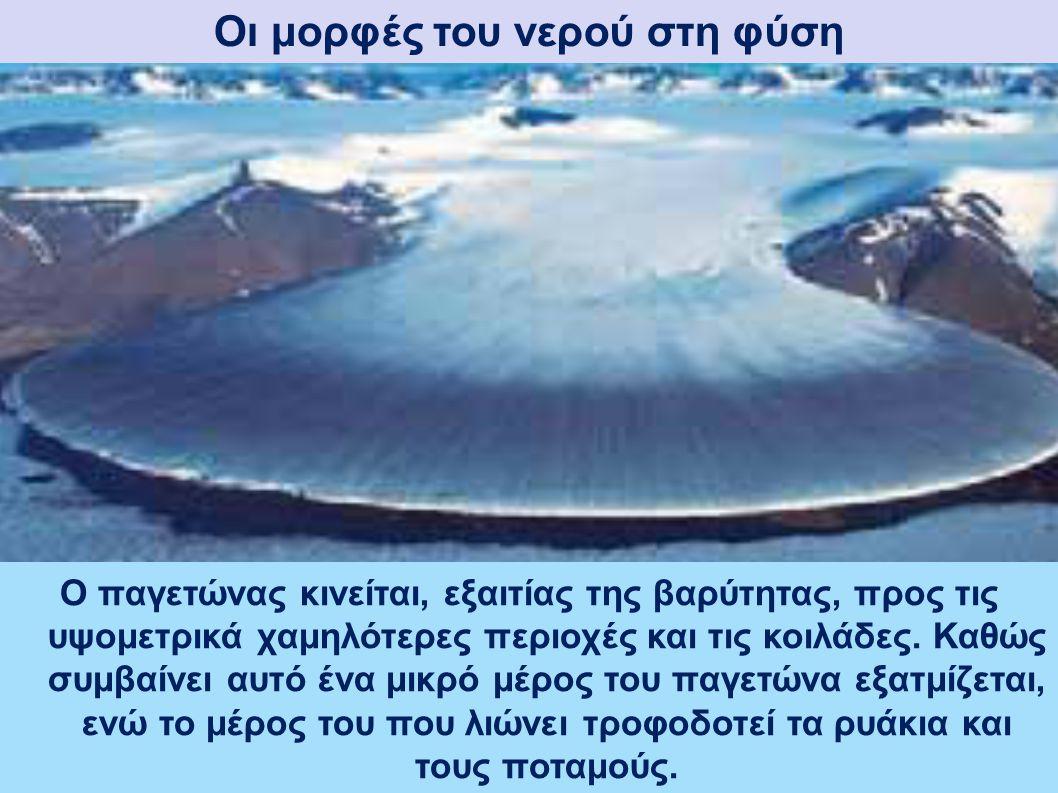 Οι μορφές του νερού στη φύση Παγετώνες Οι παγετώνες είναι μεγάλες μάζες πάγων που δημιουργούνται στα ψηλά βουνά ή στα μεγάλα γεωγραφικά πλάτη, δηλαδή