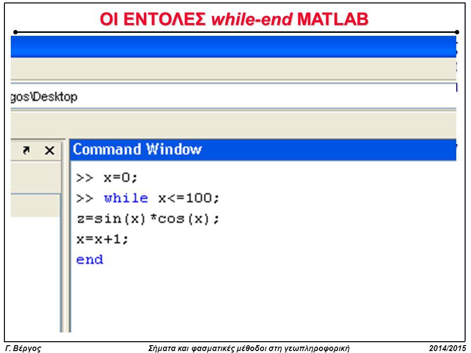Γ. Βέργος Σήματα και φασματικές μέθοδοι στη γεωπληροφορική 2014/2015 ΟΙ ΕΝΤΟΛΕΣ while-end MATLAB Στο MATLAB οι εντολές while-end χρησιμοποιούνται όπως