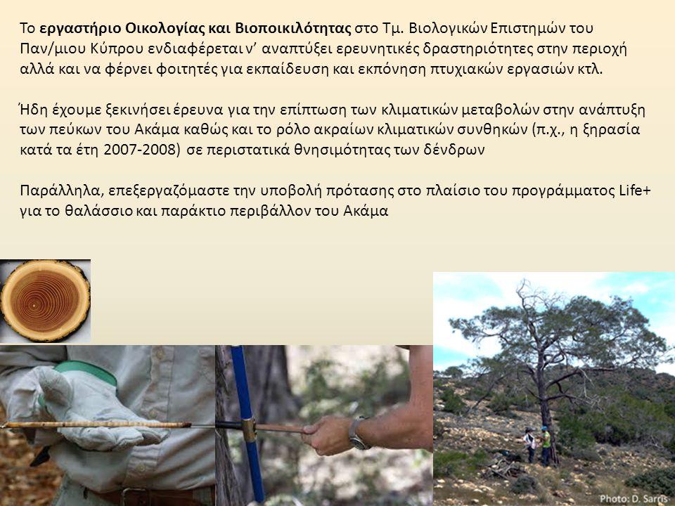 Το εργαστήριο Οικολογίας και Βιοποικιλότητας στο Τμ. Βιολογικών Επιστημών του Παν/μιου Κύπρου ενδιαφέρεται ν' αναπτύξει ερευνητικές δραστηριότητες στη