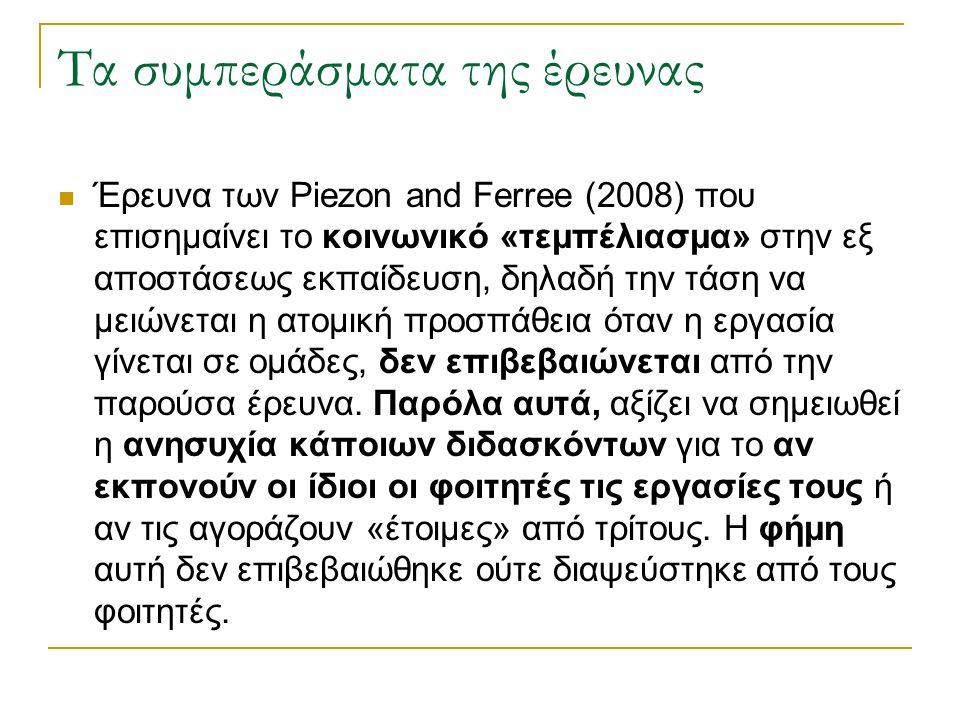 Τα συμπεράσματα της έρευνας Έρευνα των Piezon and Ferree (2008) που επισημαίνει το κοινωνικό «τεμπέλιασμα» στην εξ αποστάσεως εκπαίδευση, δηλαδή την τ