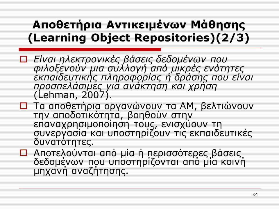 34 Αποθετήρια Αντικειμένων Μάθησης (Learning Object Repositories)(2/3)  Είναι ηλεκτρονικές βάσεις δεδομένων που φιλοξενούν μια συλλογή από μικρές ενότητες εκπαιδευτικής πληροφορίας ή δράσης που είναι προσπελάσιμες για ανάκτηση και χρήση (Lehman, 2007).