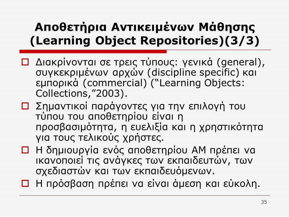35 Αποθετήρια Αντικειμένων Μάθησης (Learning Object Repositories)(3/3)  Διακρίνονται σε τρεις τύπους: γενικά (general), συγκεκριμένων αρχών (discipline specific) και εμπορικά (commercial) ( Learning Objects: Collections, 2003).