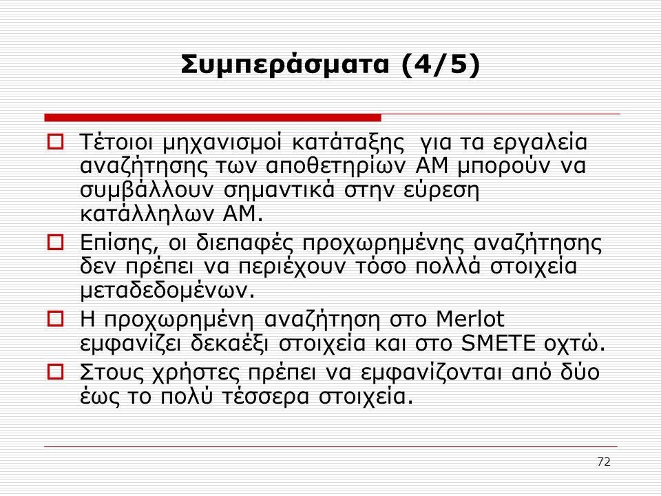 72 Συμπεράσματα (4/5)  Τέτοιοι μηχανισμοί κατάταξης για τα εργαλεία αναζήτησης των αποθετηρίων ΑΜ μπορούν να συμβάλλουν σημαντικά στην εύρεση κατάλληλων ΑΜ.