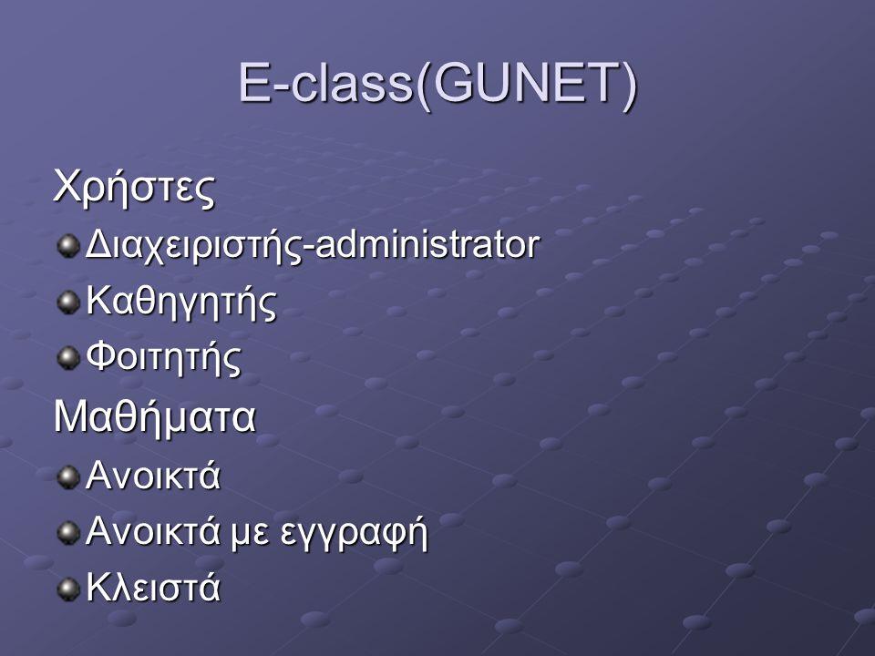 E-class(GUNET) Χρήστες Διαχειριστής-administrator ΚαθηγητήςΦοιτητήςΜαθήματαΑνοικτά Ανοικτά με εγγραφή Κλειστά