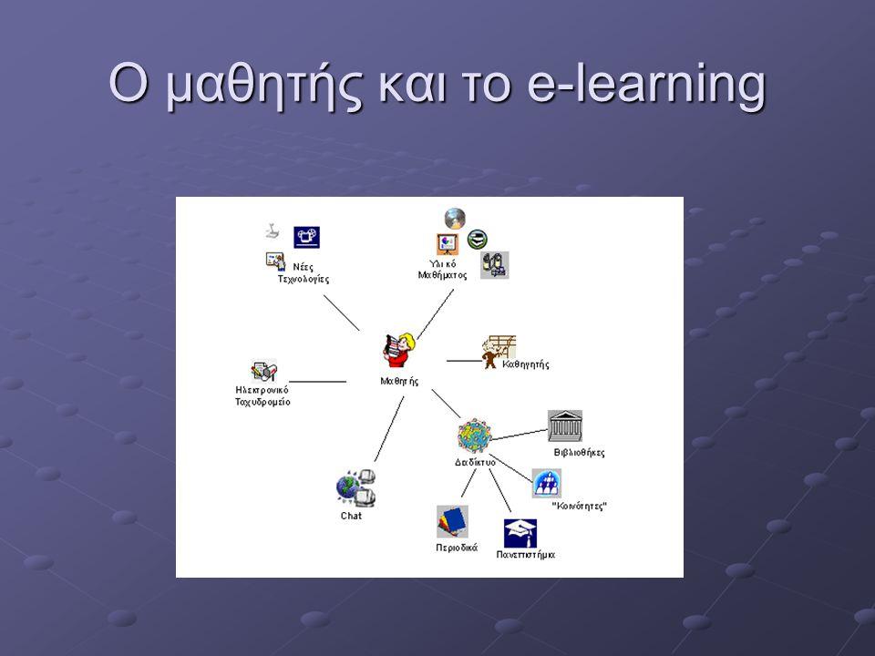 E-learning Πλεονεκτήματα Διαθεσιμότητα, αποτελεσματικότητα, ποικίλες μορφές υλικού, hyper learning, συμμετοχική μάθηση Μειονεκτήματα Απομόνωση, έλλειψη επικοινωνίας, έλλειψη προσωπικής επαφής, ανασφάλεια