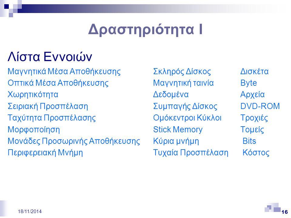 Δραστηριότητα Ι Λίστα Εννοιών Μαγνητικά Μέσα ΑποθήκευσηςΣκληρός ΔίσκοςΔισκέτα Οπτικά Μέσα ΑποθήκευσηςΜαγνητική ταινίαByte ΧωρητικότηταΔεδομέναΑρχεία Σ