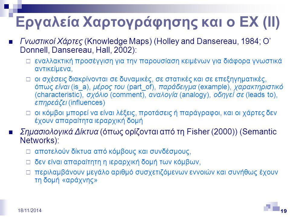 19 18/11/2014 Εργαλεία Χαρτογράφησης και ο ΕΧ (ΙΙ) Γνωστικοί Χάρτες (Knowledge Maps) (Holley and Dansereau, 1984; O' Donnell, Dansereau, Hall, 2002):