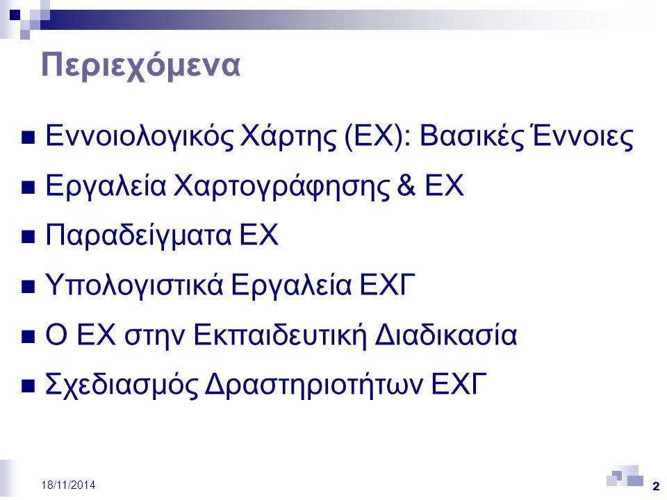 23 18/11/2014 Υπολογιστικά Περιβάλλοντα ΕΧΓ (ΙΙ) Λογισμικά Εννοιολογικής Χαρτογράφησης σε εμπορικό επίπεδο, όπως  το Inspiration (http://www.inspiration.com/ home.cfm),  το Conception (http://www.parlog.com), και  το SMART Ideas (http://www.smarttech.com.products/smartideas/index.asp) σε ερευνητικό επίπεδο  Περιβάλλοντα ΕΧΓ Γενικής Χρήσης: έχουν ως στόχο να υποστηρίξουν τους μαθητές στην εκπόνηση δραστηριοτήτων ΕΧΓ ή στη διδασκαλία εννοιών μέσω ΕΧ και στην αναζήτηση/ πρόσβαση σε εκπαιδευτικό υλικό και τους εκπαιδευτικούς στο σχεδιασμό και οργάνωση του μαθήματός τους,  Συνεργατικά Περιβάλλοντα ΕΧΓ: έχουν ως στόχο να υποστηρίξουν τη συνεργατική μάθηση και τη συνεργατική εκπόνηση δραστηριοτήτων ΕΧΓ  Περιβάλλοντα/Εργαλεία Αξιολόγησης ΕΧ: έχουν ως στόχο να υποστηρίξουν τη μαθησιακή διαδικασία και την αξιολόγηση μέσα από την εκπόνηση δραστηριοτήτων ΕΧΓ