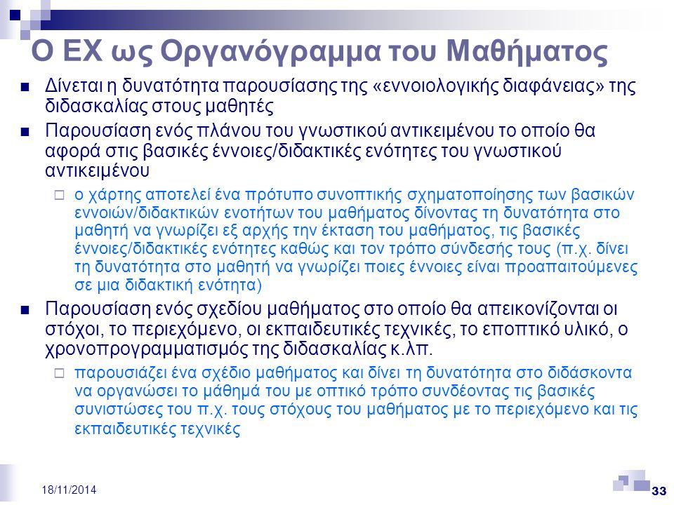 33 18/11/2014 Ο ΕΧ ως Οργανόγραμμα του Μαθήματος Δίνεται η δυνατότητα παρουσίασης της «εννοιολογικής διαφάνειας» της διδασκαλίας στους μαθητές Παρουσί