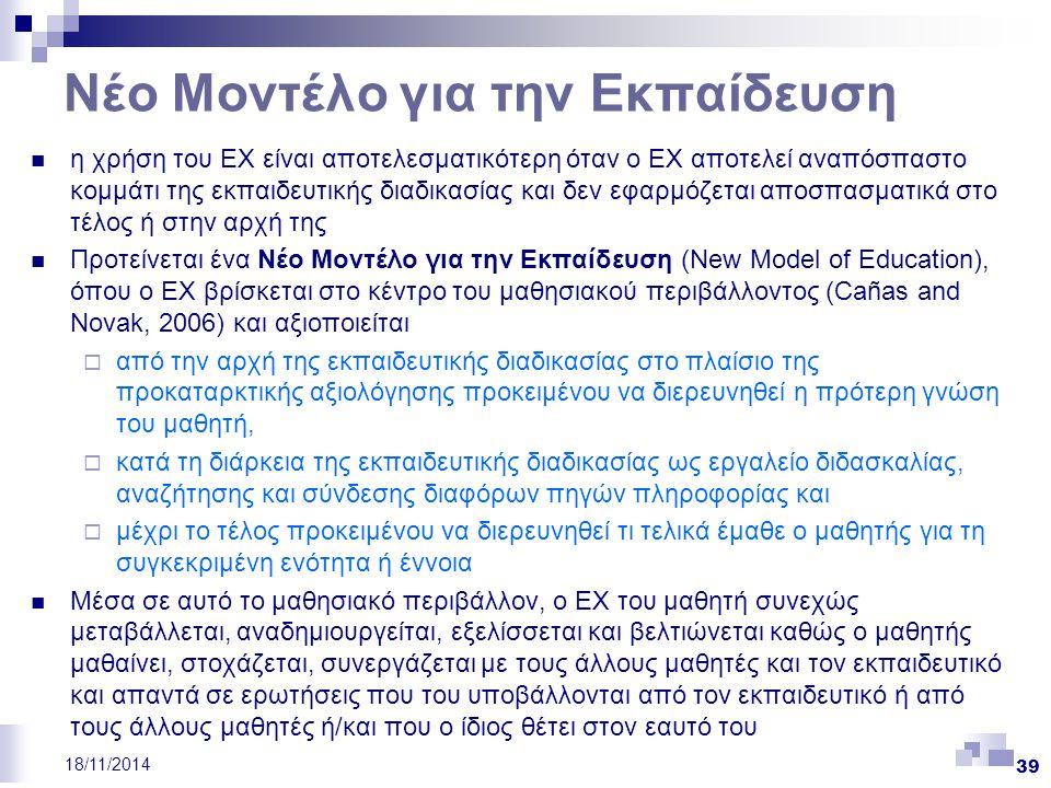 39 18/11/2014 Νέο Μοντέλο για την Εκπαίδευση η χρήση του ΕΧ είναι αποτελεσματικότερη όταν ο ΕΧ αποτελεί αναπόσπαστο κομμάτι της εκπαιδευτικής διαδικασ