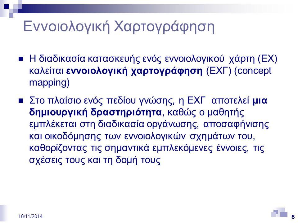 6 18/11/2014 Ο ΕΧ: Συστατικά Στοιχεία (Ι) Κόμβοι: αναπαριστούν τις έννοιες (αντικείμενα ή γεγονότα ή ένα σύνολο από αντικείμενα/γεγονότα) και κάθε κόμβος έχει μια ετικέτα Σύνδεσμοι: προσδιορίζουν τις σχέσεις μεταξύ των εννοιών περιγράφοντας πώς μια έννοια συνδέεται με μια άλλη  Δύο κόμβοι συνδέονται μεταξύ τους με μια γραμμή, με ή χωρίς κατεύθυνση (όταν η σχέση δεν έχει κατεύθυνση αφορά μια ιεραρχική σχέση) και η γραμμή έχει μια ετικέτα που προσδιορίζει τη σχέση μεταξύ των δύο συνδεόμενων εννοιών Κεντρική έννοια: η βασική έννοια που περιγράφεται από τις έννοιες στις οποίες αναλύεται (συνήθως απεικονίζεται στην κορυφή του χάρτη)