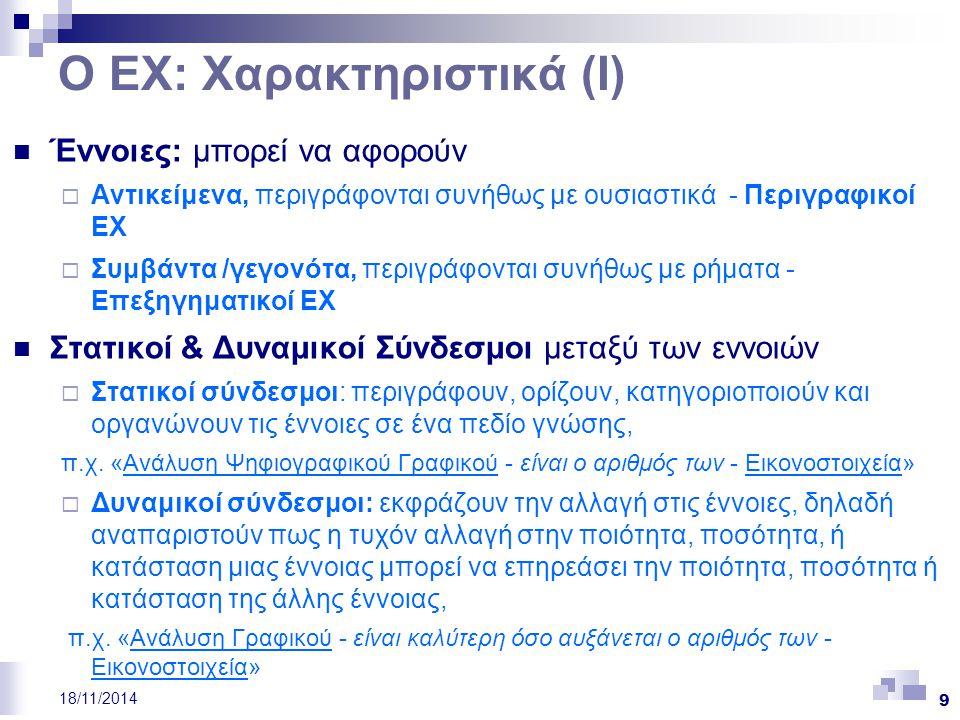 9 18/11/2014 Ο ΕΧ: Χαρακτηριστικά (Ι) Έννοιες: μπορεί να αφορούν  Αντικείμενα, περιγράφονται συνήθως με ουσιαστικά - Περιγραφικοί ΕΧ  Συμβάντα /γεγο