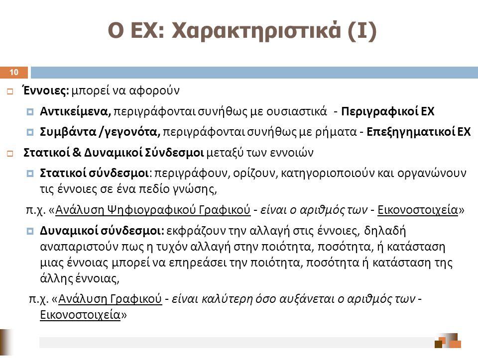 Ο ΕΧ: Χαρακτηριστικά (Ι)  Έννοιες : μπορεί να αφορούν  Αντικείμενα, περιγράφονται συνήθως με ουσιαστικά - Περιγραφικοί ΕΧ  Συμβάντα / γεγονότα, περ