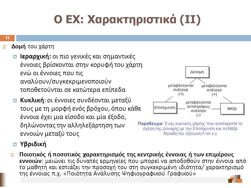 Ο ΕΧ: Χαρακτηριστικά (ΙΙ)  Δομή του χάρτη  Ιεραρχική : οι πιο γενικές και σημαντικές έννοιες βρίσκονται στην κορυφή του χάρτη ενώ οι έννοιες που τις