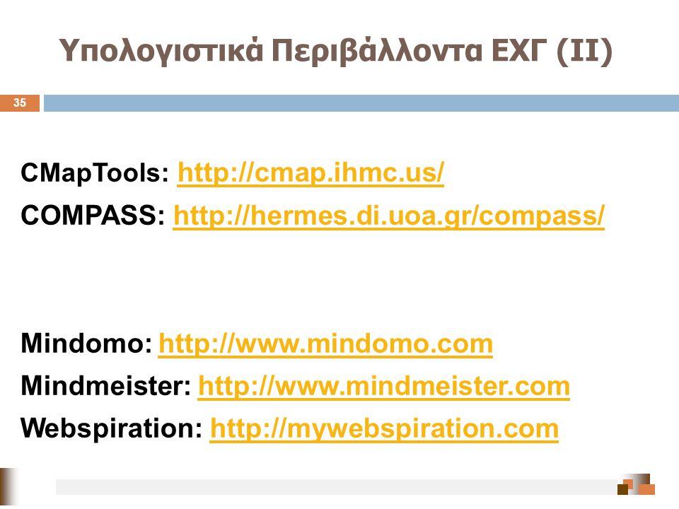 Υπολογιστικά Περιβάλλοντα ΕΧΓ (ΙΙ) CMapTools: http://cmap.ihmc.us/ http://cmap.ihmc.us/ COMPASS: http://hermes.di.uoa.gr/compass/http://hermes.di.uoa.