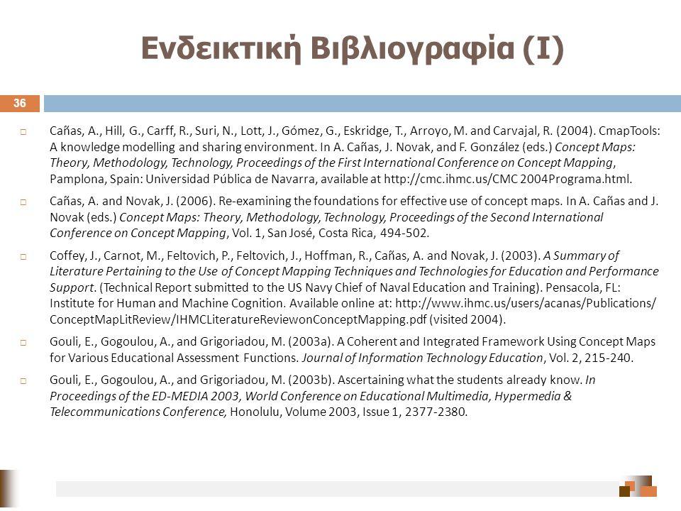 Ενδεικτική Βιβλιογραφία (Ι) 36  Cañas, A., Hill, G., Carff, R., Suri, N., Lott, J., Gómez, G., Eskridge, T., Arroyo, M. and Carvajal, R. (2004). Cmap