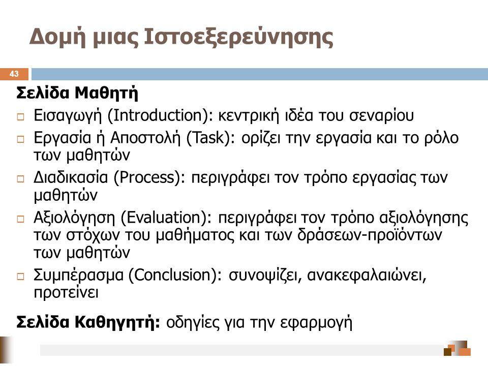 Δομή μιας Ιστοεξερεύνησης 43 Σελίδα Μαθητή  Εισαγωγή (Introduction): κεντρική ιδέα του σεναρίου  Εργασία ή Αποστολή (Task): ορίζει την εργασία και τ