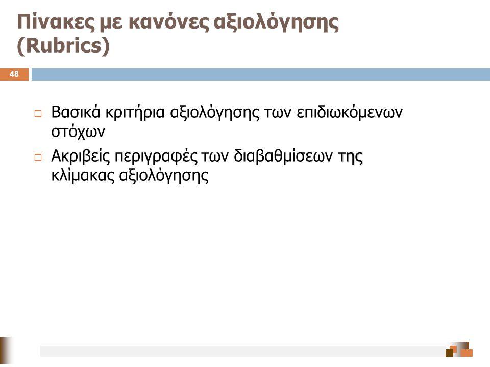 Πίνακες με κανόνες αξιολόγησης (Rubrics) 48  Βασικά κριτήρια αξιολόγησης των επιδιωκόμενων στόχων της  Ακριβείς περιγραφές των διαβαθμίσεων της κλίμ