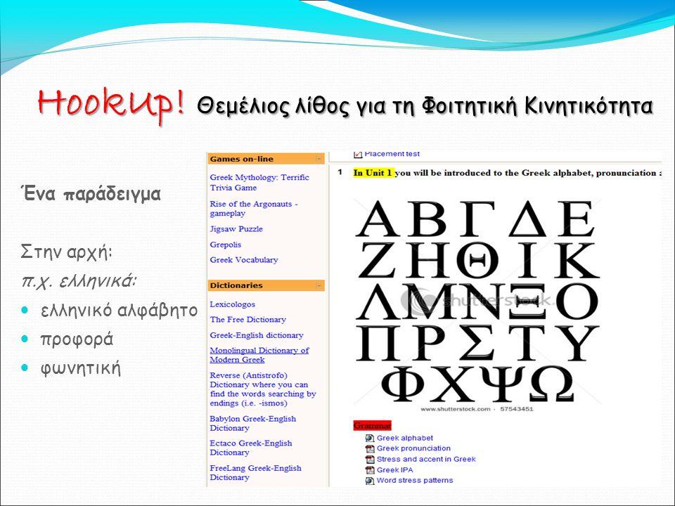 Ένα παράδειγμα Στην αρχή: π.χ.ελληνικά: ελληνικό αλφάβητο προφορά φωνητική HookUp.