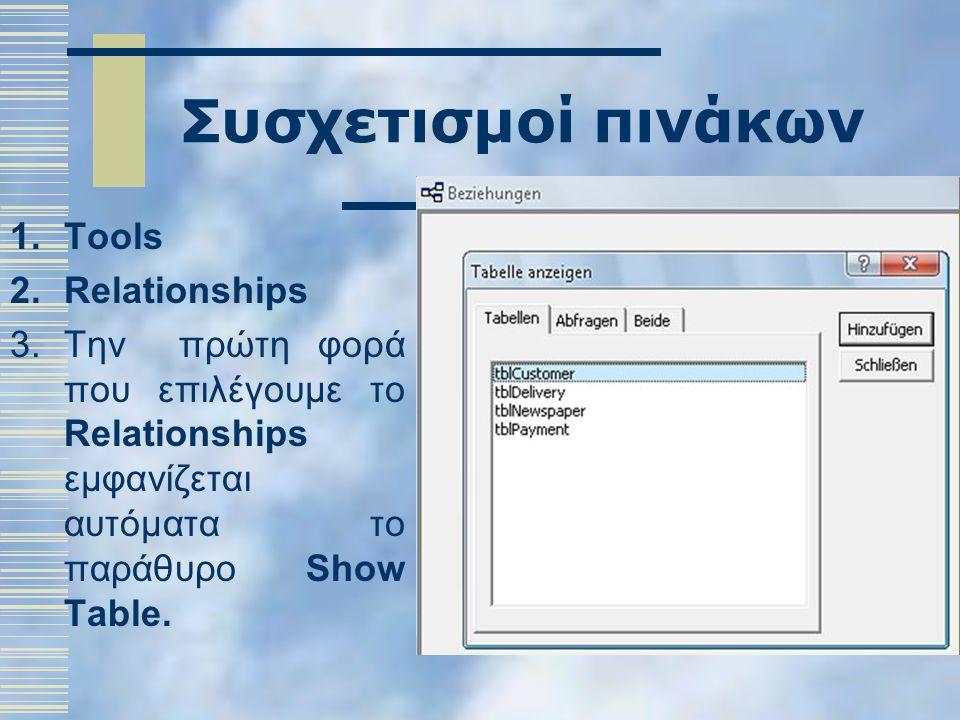 Συσχετισμοί πινάκων 1.Tools 2.Relationships 3.Την πρώτη φορά που επιλέγουμε το Relationships εμφανίζεται αυτόματα το παράθυρο Show Table.