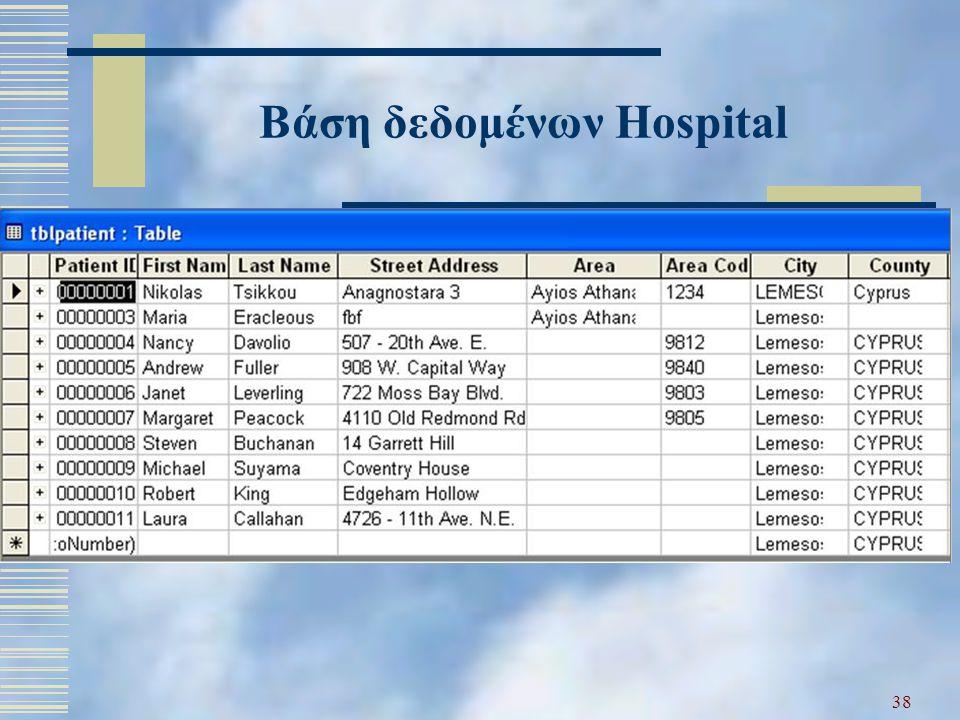 38 Βάση δεδομένων Hospital