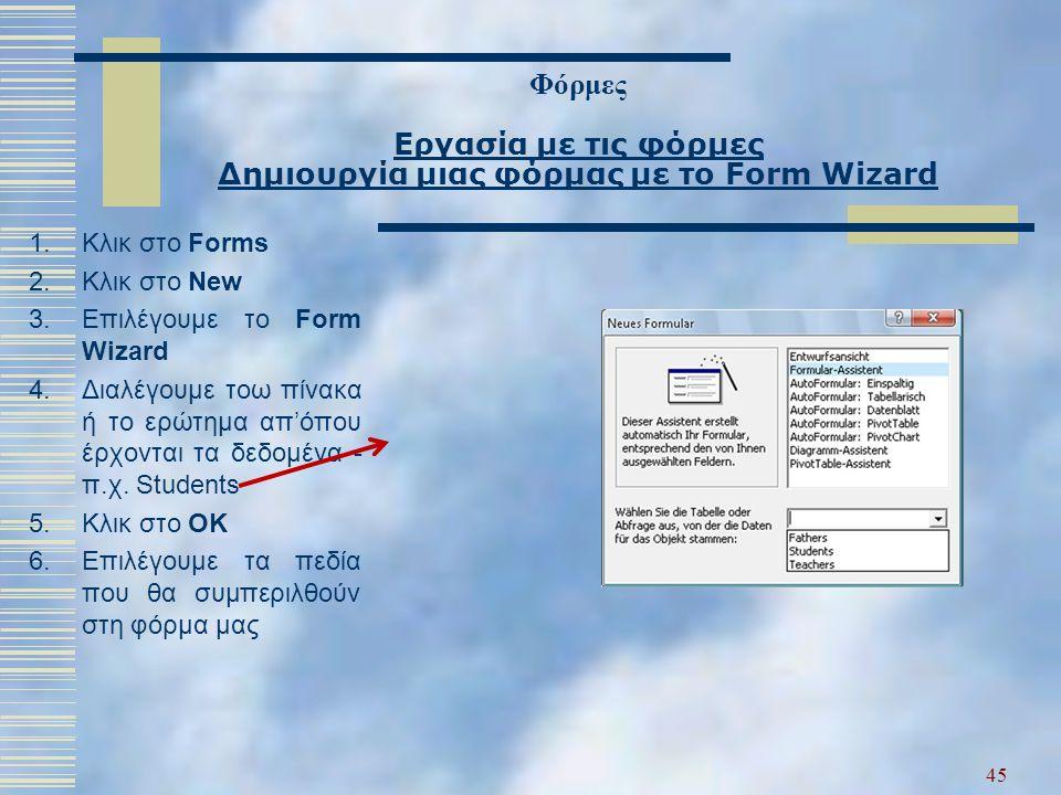 Φόρμες Εργασία με τις φόρμες Δημιουργία μιας φόρμας με το Form Wizard 1.Κλικ στο Forms 2.Κλικ στο New 3.Επιλέγουμε το Form Wizard 4.Διαλέγουμε τοω πίν
