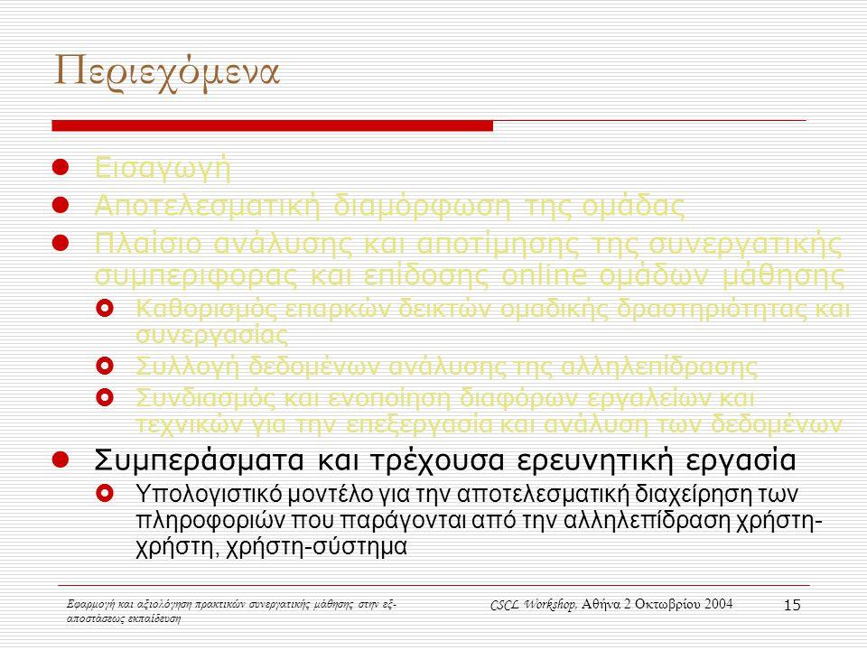 Εφαρμογή και αξιολόγηση πρακτικών συνεργατικής μάθησης στην εξ- αποστάσεως εκπαίδευση CSCL Workshop, Αθήνα 2 Οκτωβρίου 2004 15 Περιεχόμενα Εισαγωγή Αποτελεσματική διαμόρφωση της ομάδας Πλαίσιο ανάλυσης και αποτίμησης της συνεργατικής συμπεριφορας και επίδοσης online ομάδων μάθησης  Καθορισμός επαρκών δεικτών ομαδικής δραστηριότητας και συνεργασίας  Συλλογή δεδομένων ανάλυσης της αλληλεπίδρασης  Συνδιασμός και ενοποίηση διαφόρων εργαλείων και τεχνικών για την επεξεργασία και ανάλυση των δεδομένων Συμπεράσματα και τρέχουσα ερευνητική εργασία  Υπολογιστικό μοντέλο για την αποτελεσματική διαχείρηση των πληροφοριών που παράγονται από την αλληλεπίδραση χρήστη- χρήστη, χρήστη-σύστημα